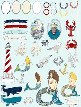 Nautical Clip Art, Mermaid, Crab, Ocean Life Clipart, Sailor Digital  Graphics.