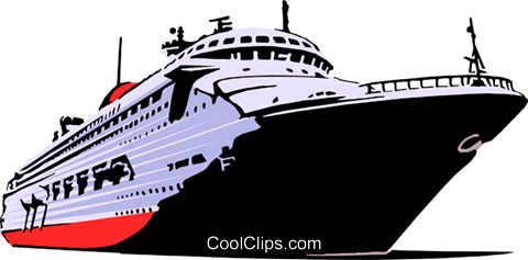 Ocean liner Royalty Free Vector Clip Art illustration.