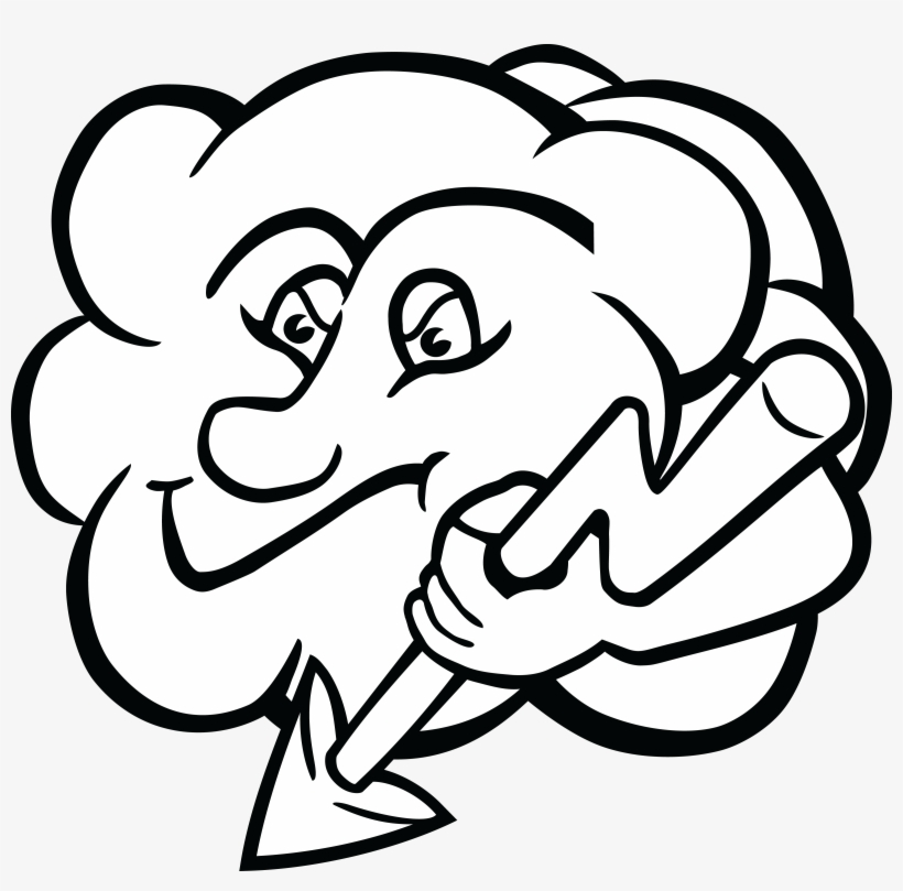 Free Clipart Of A Cloud Character Holding A Lightning.