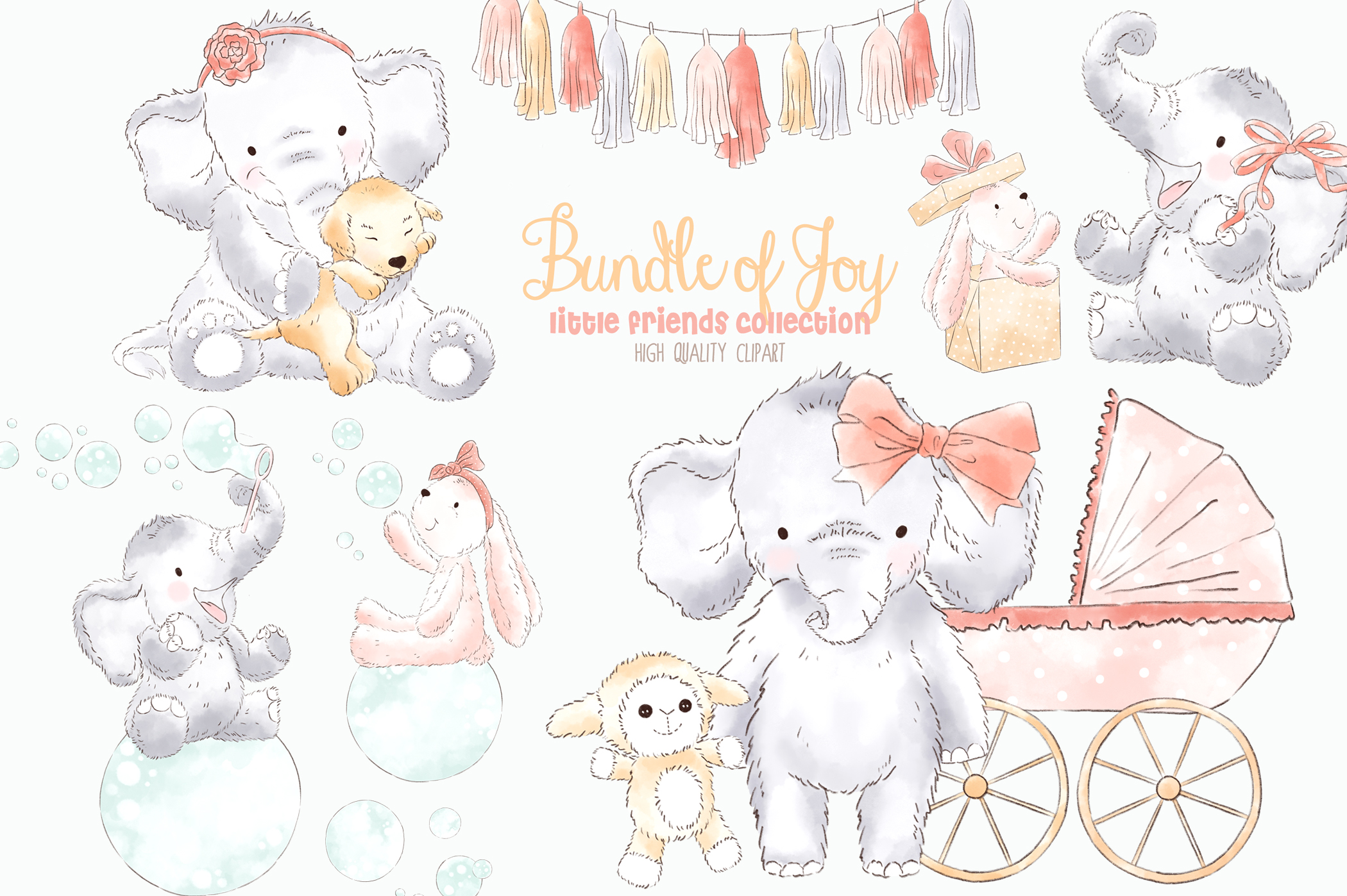 Elephant Baby Girl Watercolor Clipart.