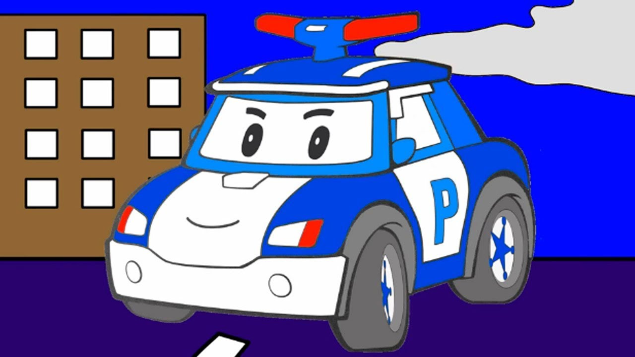 Cartoons for children about cars. Construction game. Police car.