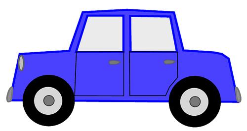 Blue car sketch clipart, 12 cm long.