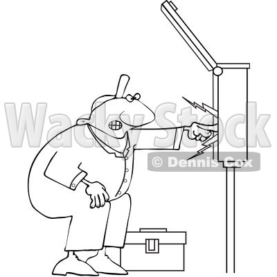 Clipart of a Cartoon Lineart Black Male Electrician Touching a Power.
