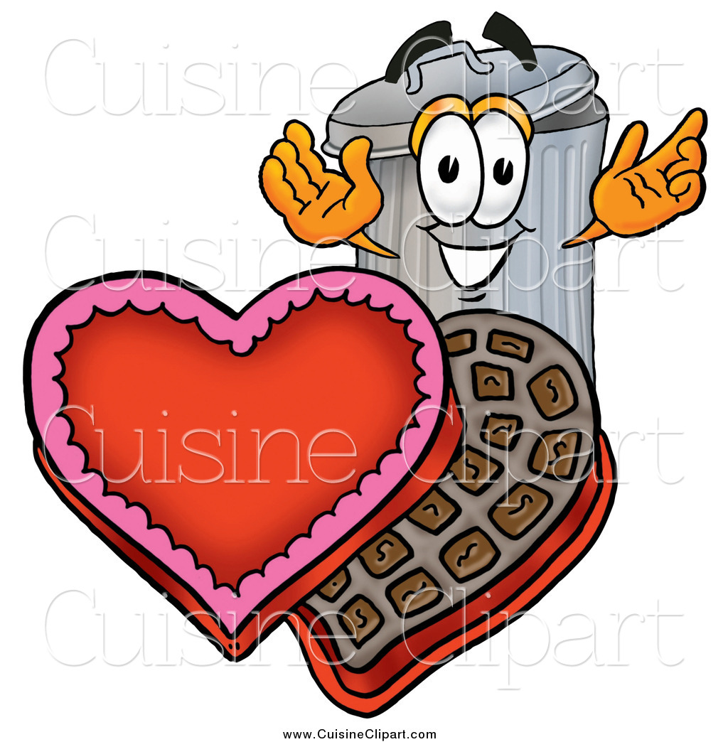 Cuisine Clipart of a Garbage Can Character with a Box of Valentines.