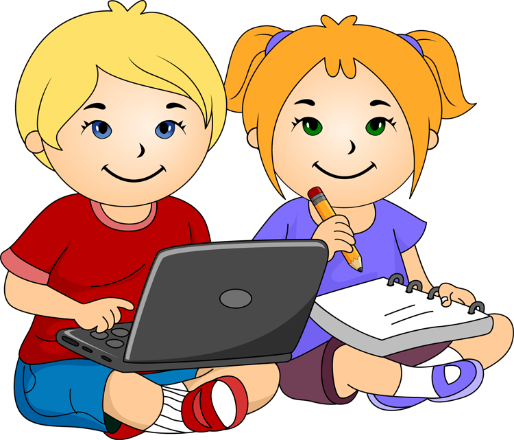 Girl And Boy Writing Clipart.