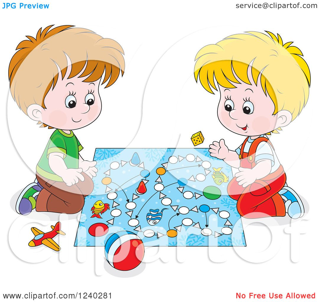Clipart of Happy Caucasian Boys Playing a Board Game.