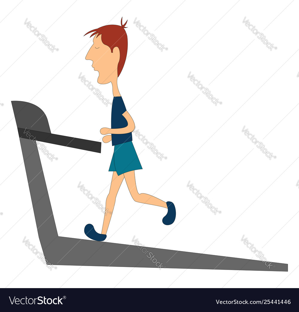 Clipart a skinny boy running in a treadmill or.