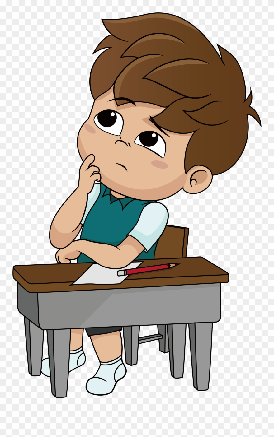 Royalty Free Illustration A Thinking Little Boy Clipart.