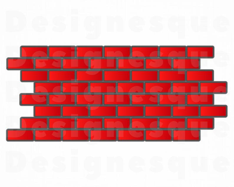 Red Brick Wall SVG, Red Bricks Svg, Brick Wall Clipart, Brick Wall Files  for Cricut, Brick Wall Cut Files For Silhouette, Dxf, Png, Eps.