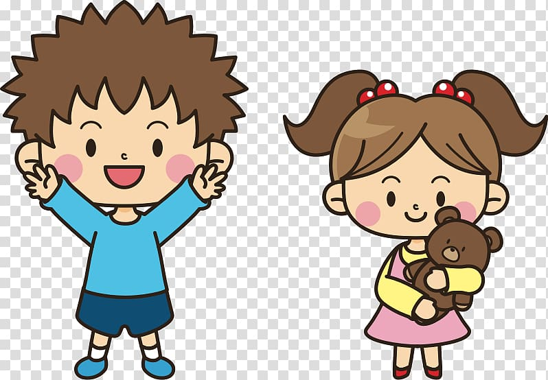 Boy and girl carrying bear plush toy illustration, Brother.