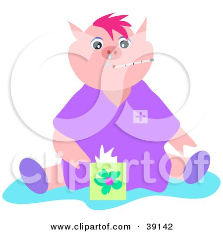 Clipart Illustration of a Sick Pig With The Flu, A Thermometer In.