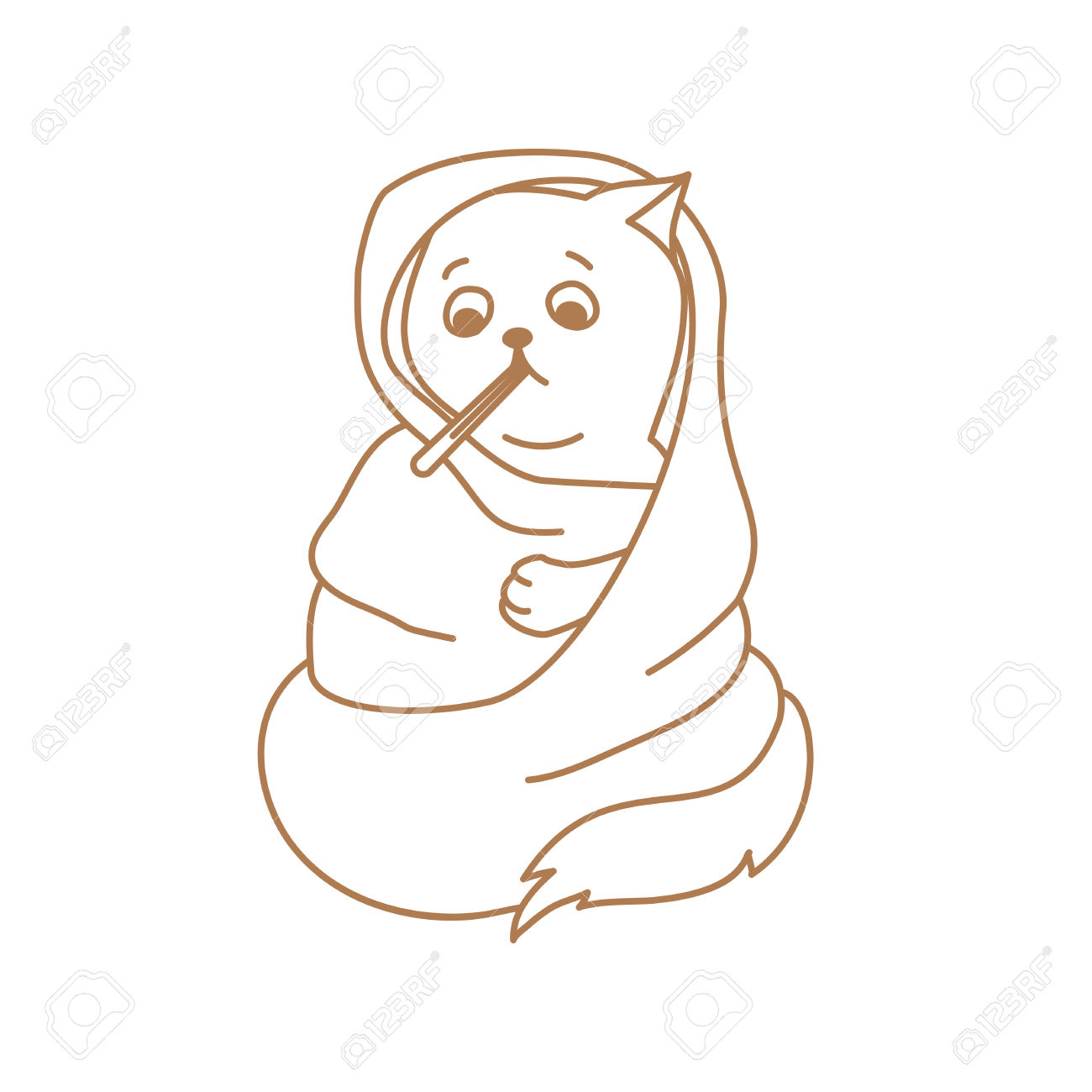 Cute Cat Character With Mouth Thermometer In Blanket Wrap Royalty.
