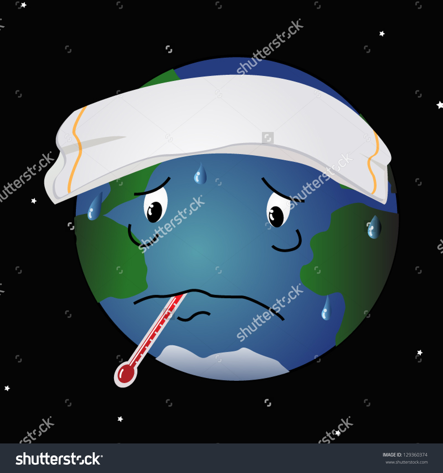 Cartoon Like Illustration Planet Earth Thermometer Stock Vector.