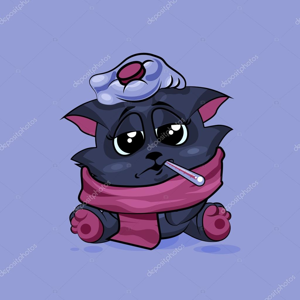 Isolated Emoji character cartoon black cat sick with thermometer.