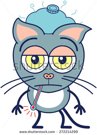Cute Gray Cat In Minimalistic Style With Pointy Ears, Bulging Eyes.