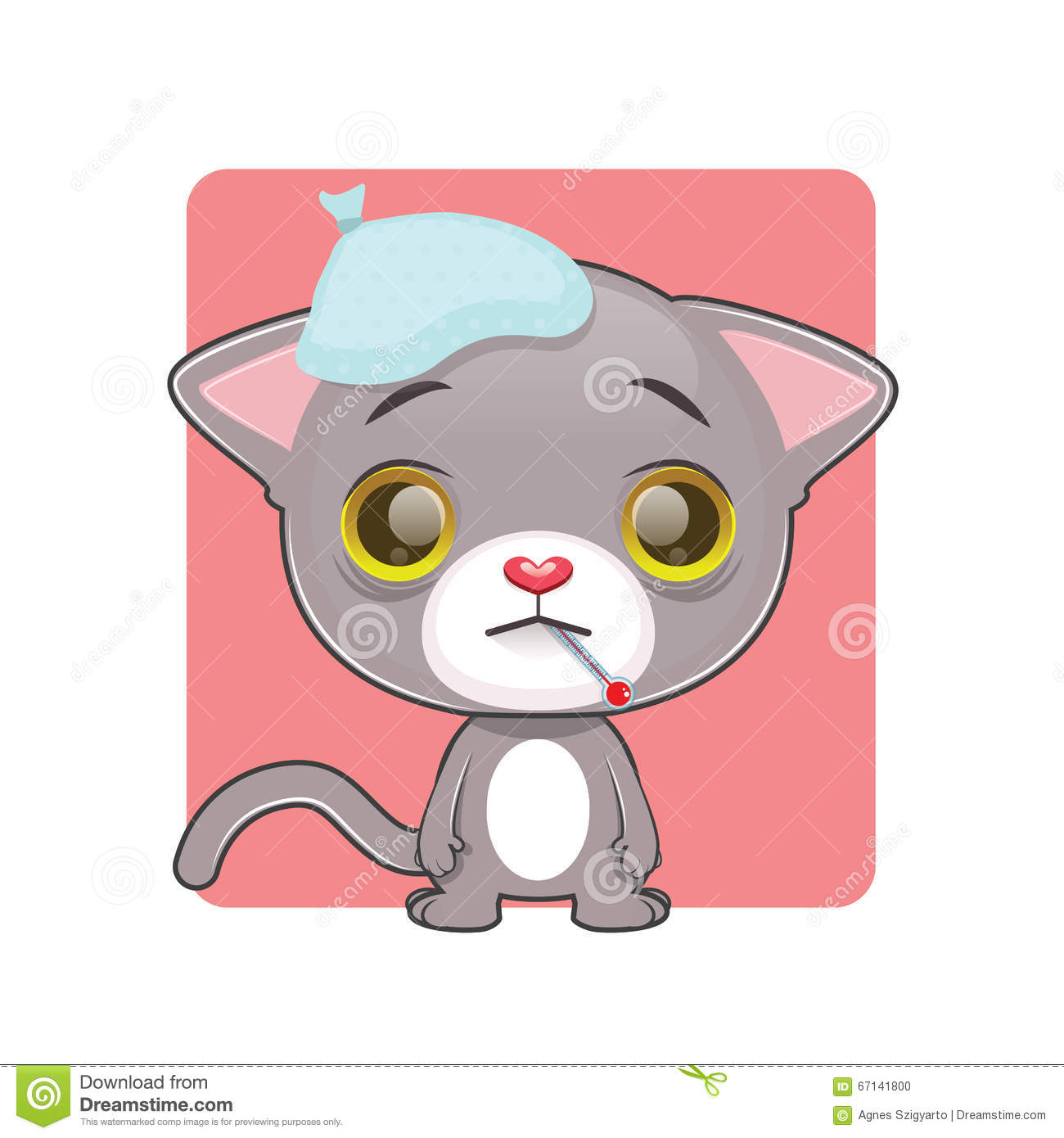 Cute Gray Cat Feeling Sick Stock Vector.