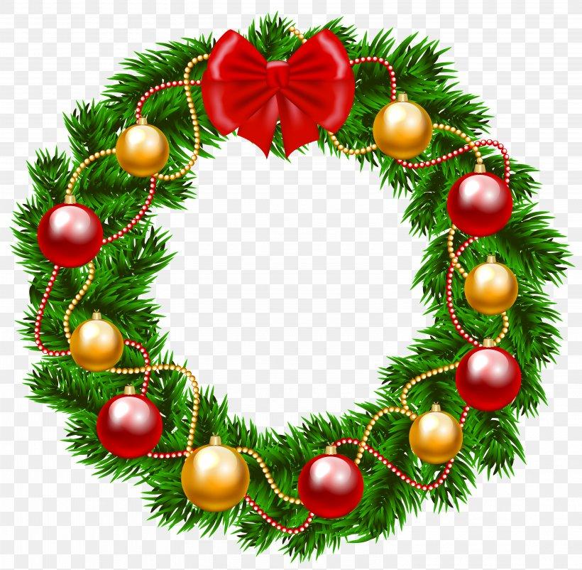 Garland Christmas Wreath Clip Art, PNG, 6129x5999px.