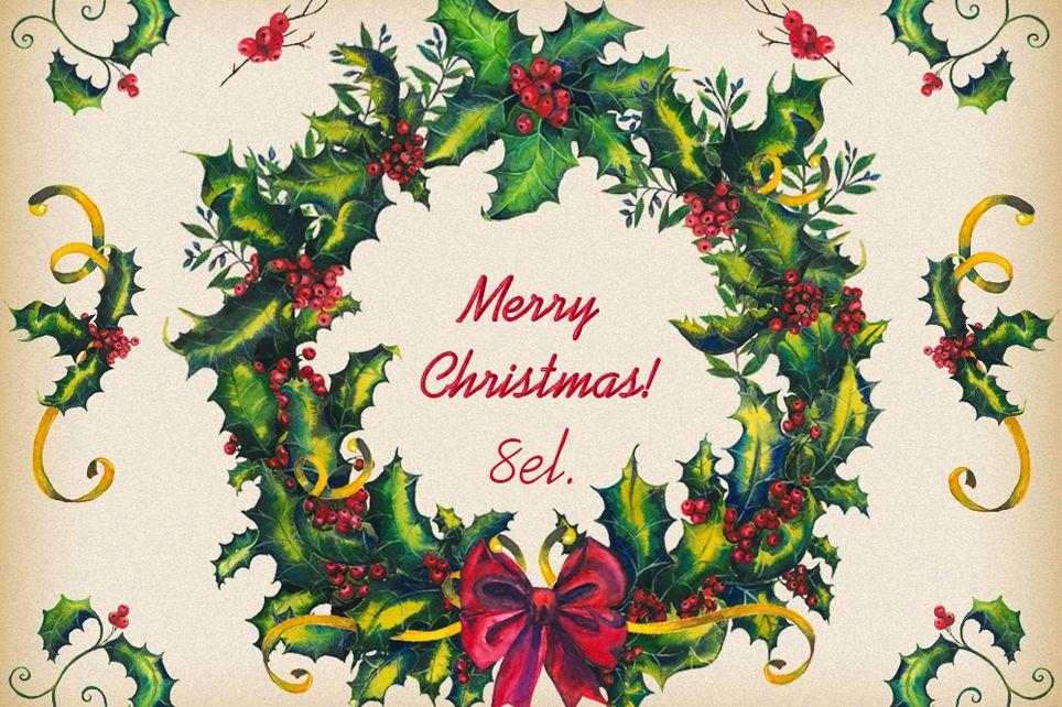 Christmas clipart, Christmas wreath, winter clipart.