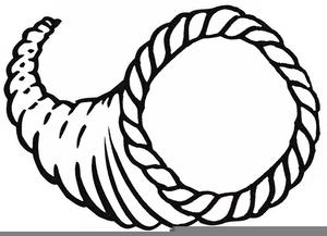 Cornucopia Clipart Black White.