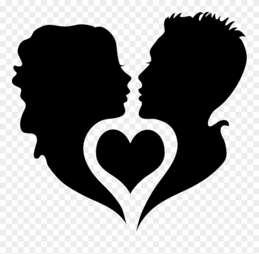 Black Silhouette Silhouettes Couples Couple Hearts Clipart (#2949791.