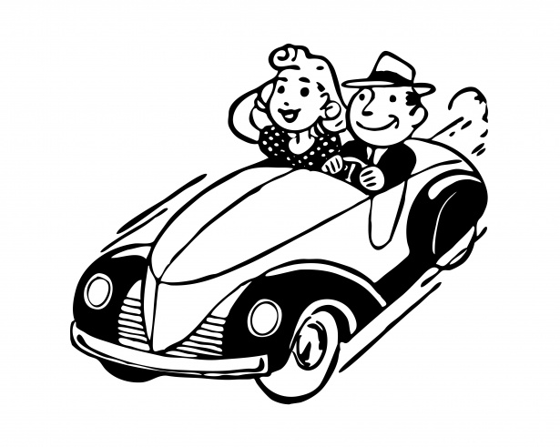 Vintage Car Couple Clipart Free Stock Photo.