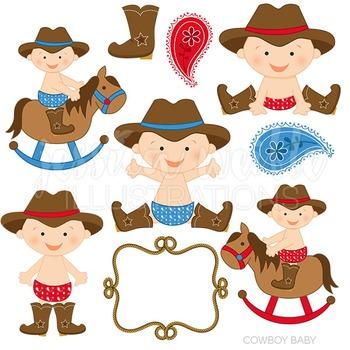 Cowboy Baby Cute Digital Clipart, Cowboy Graphics.