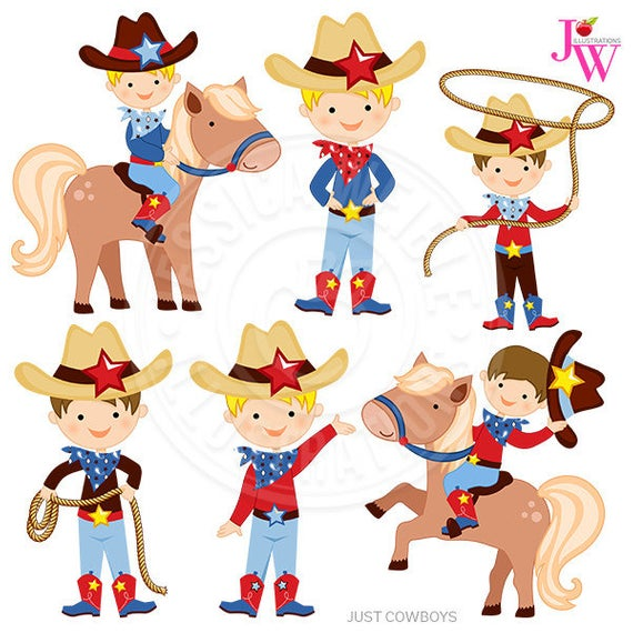 Just Cowboys Digital Clipart, Cowboy Graphics, Cowboy Clip Art, Cute.