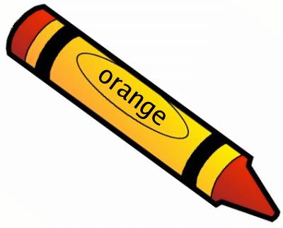 I see an orange crayon. Orange, orange all around. See the orange.