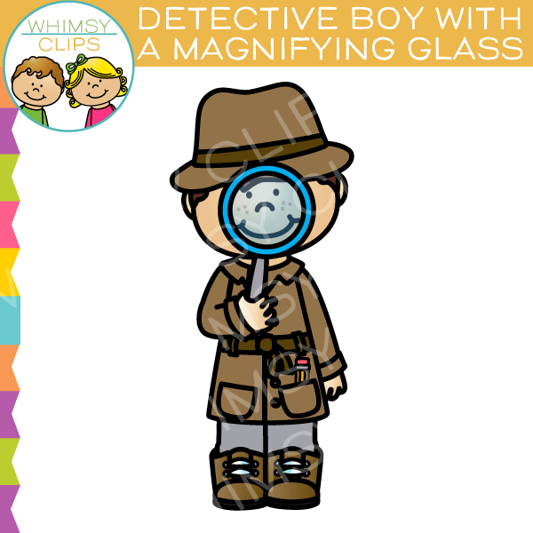 Clipart Of A Detective Boy Holding A Magnifying Glass.