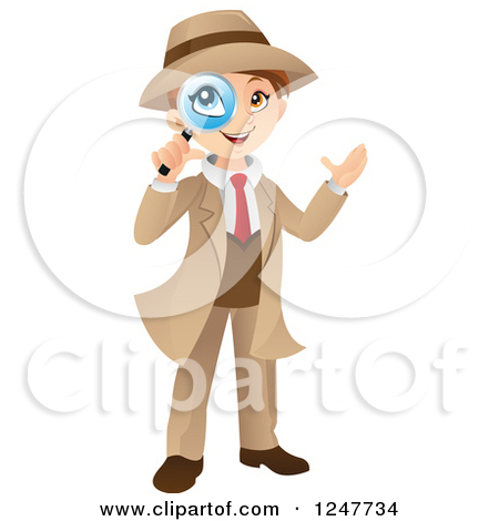 Clipart of a Detective Boy Looking Through a Magnifying Glass.