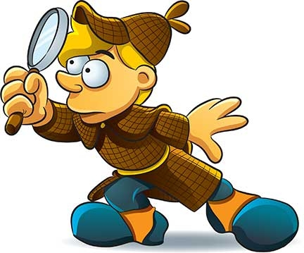 Showing post & media for Cartoon detective with magnifying glass.