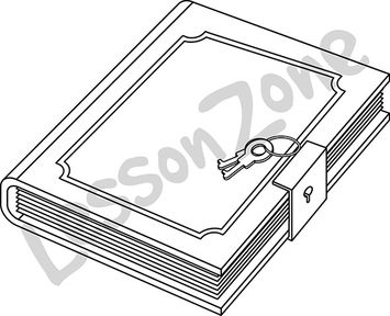 Diary With Lock Clipart.