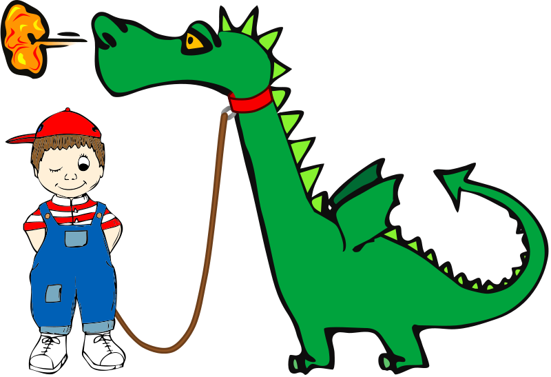 Free Clipart: Dragon on a Leash.