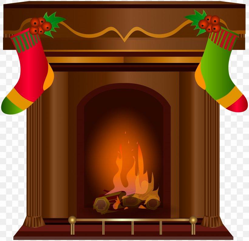 Fireplace Santa Claus Chimney Clip Art, PNG, 8000x7743px.