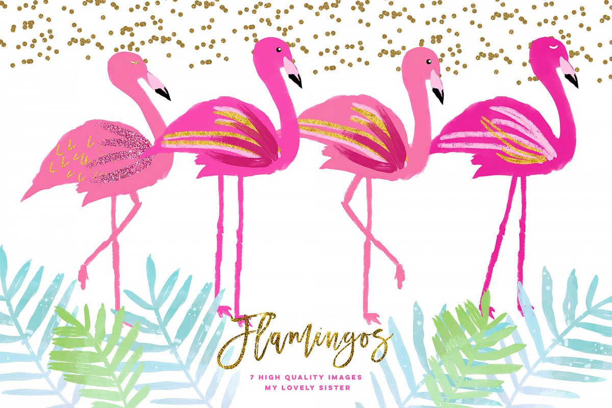 Pink Flamingo clipart, scrapbooking cupcake toppers.