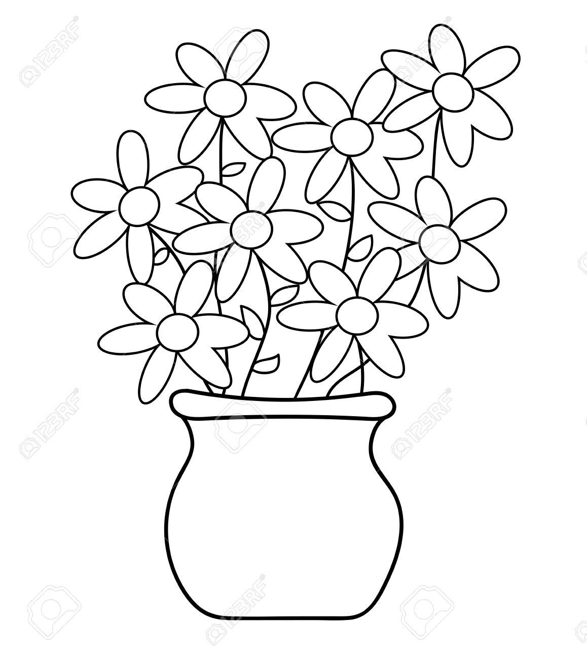 Flower Pot Coloring Page.