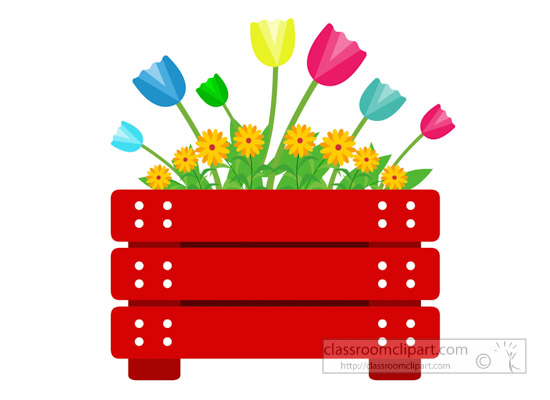 Wodden flower pot with beautiful flowers clipart » Clipart Station.