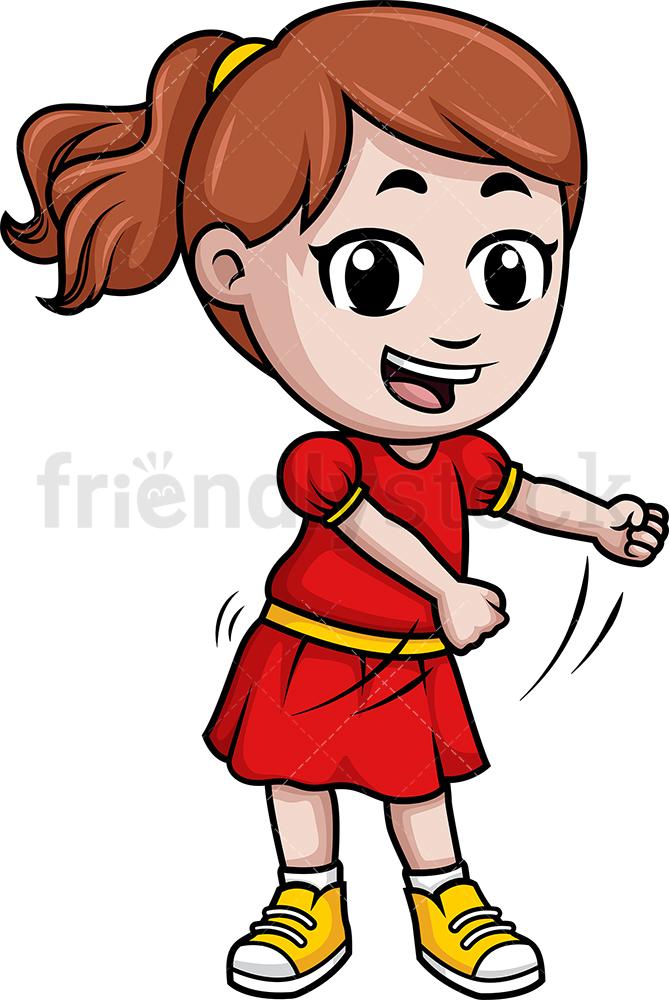 Caucasian Little Girl Dancing The Floss.