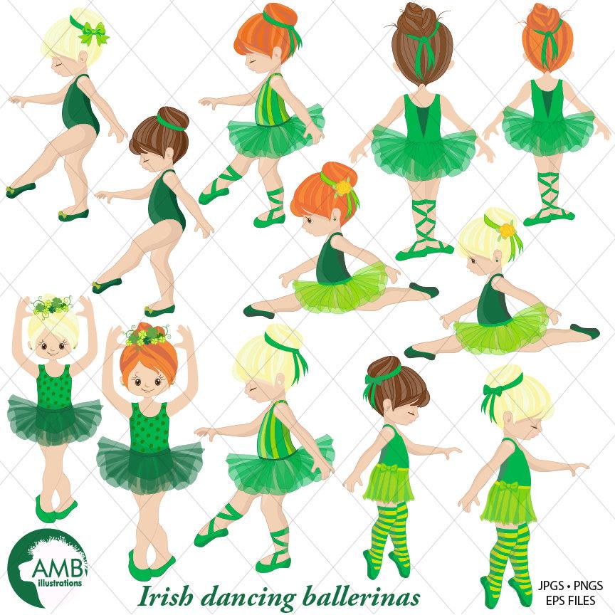 Irish Ballerina clipart, Irish Ballet clipart, irish dancers, girl dancing,  commercial use, instant download, AMB.