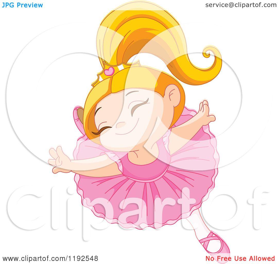 Cartoon of a Happy Ballerina Princess Girl Dancing.