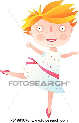Girl Dancing Ballet in Cute Dress Clipart.