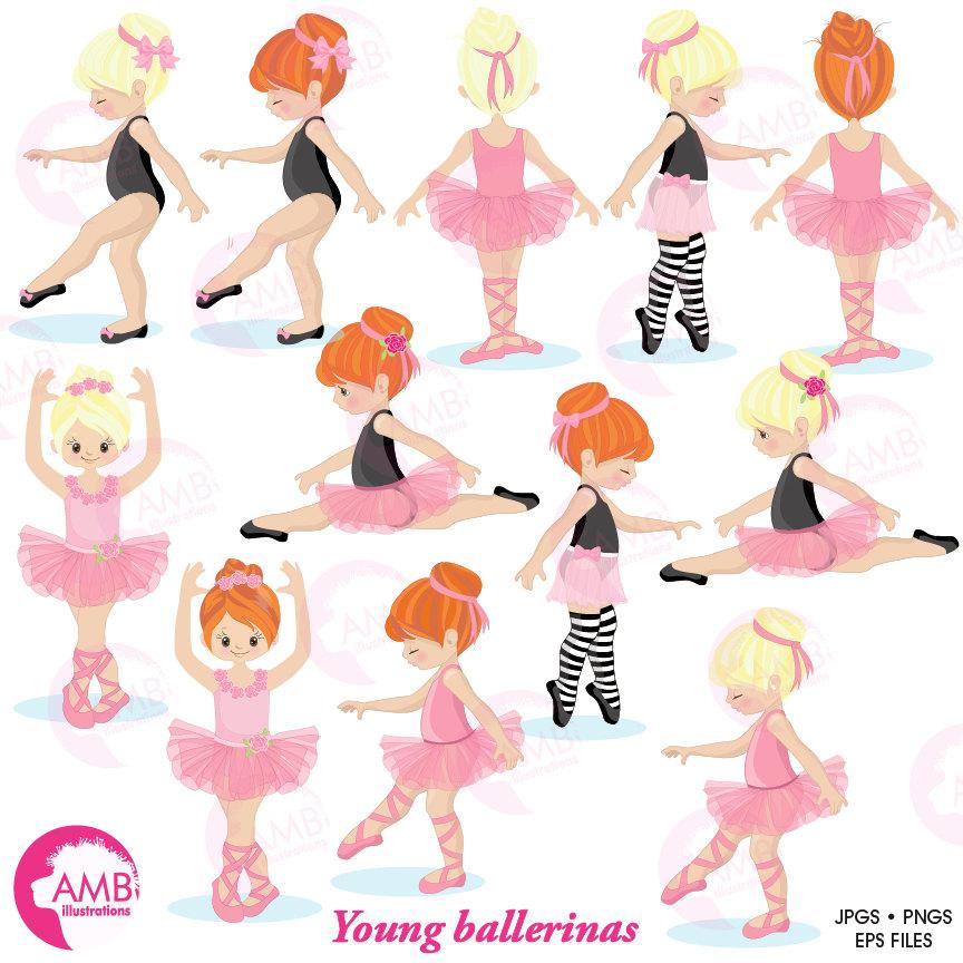 Ballerina clipart, Ballet clipart, pink ballerina, girl dancing, instant  download, AMB.