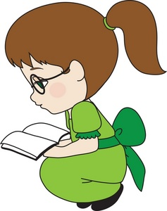 A woman reading a book clipart.