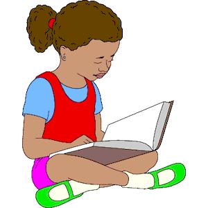Girl reading book clip art clipart image 6.