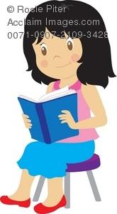 Girl reading books clip art.
