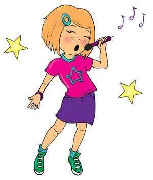 cartoon girl singing in microphone.