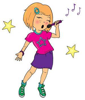 cartoon girl singing in microphone.