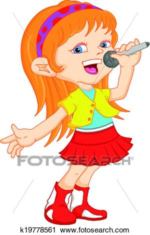 Young girl singing Clipart.