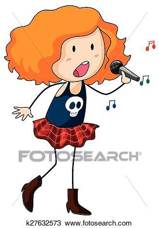 Girl singing Clipart.