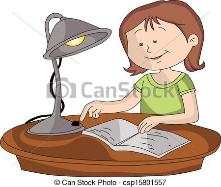 Clipart Vector of Vector of girl switching on lamp to study.